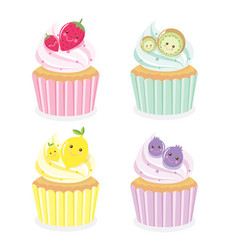 cute cup cake fruits vector image