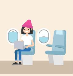 cute teenage girl sitting on the plane editable vector image