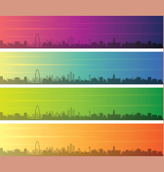 Dallas multiple color gradient skyline banner vector