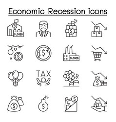 Economic recession business crisis icons set in vector