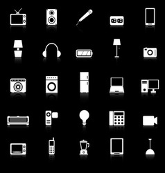 Electrical Machine icons with reflect on black vector