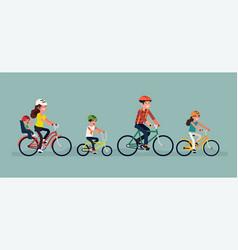 Family cycling concept vector
