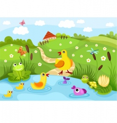 farm pond vector image