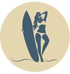 fashion girl surfer in the beach vector image