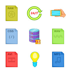 File processing icons set cartoon style vector