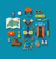 flat design equipment for climbing vector image