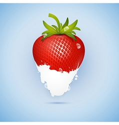 Fresh Strawberry Dipped In Ice Cream Milk Isolated vector
