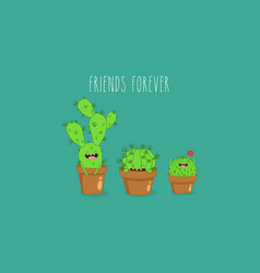 funny cactus stickers can be vector image