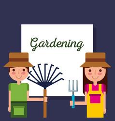 Gardening girl and boy gardener with rake and vector