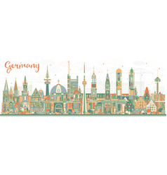 Germany city skyline with color buildings vector