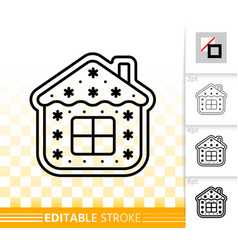 Gingerbread cookie simple black line icon vector