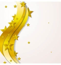 Golden waves and stars background vector