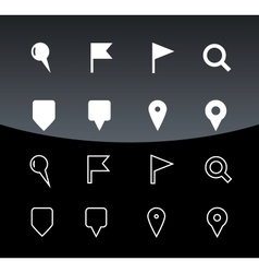 GPS and Navigation icons on black background vector image