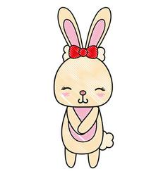 Grated cute and shy rabbit female wild animal vector