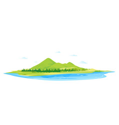 green mountain hills with forest and lake vector image