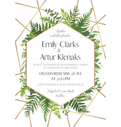 Greenery gold wedding invite card modern design vector