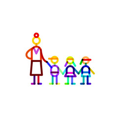 Group educator and three kids symbol kindergarten vector