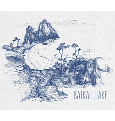 Hand drawing landscape of sacred Baikal Lake vector