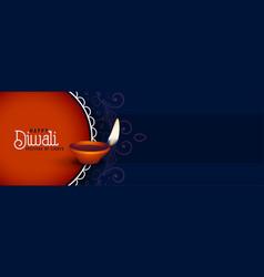 Happy deepawali festival burning diya banner vector