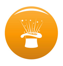Hat and firework icon orange vector