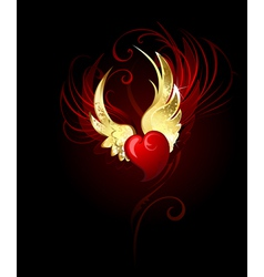Heart with wings foil vector