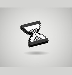 Hourglass pixel 3d cursor icon sand glass vector