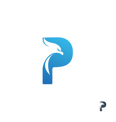 initial letter p with eagle logo design vector image