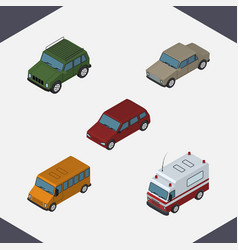 Isometric car set of auto autobus car and other vector
