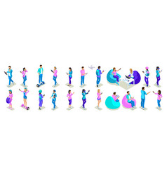 isometrics of teenagers people bright design phon vector image