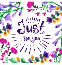 Just for you - hand drawn lettering vector