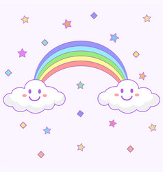 kawaii clouds and rainbow icon over white vector image