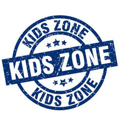 Kids zone blue round grunge stamp vector