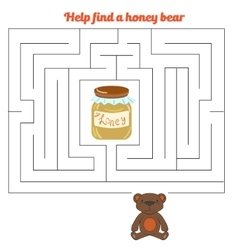 Labyrinth maze find a way bear honey vector image