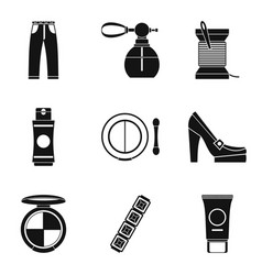 Lady accessories icons set simple style vector
