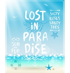 Lost in paradise poster with handwritten vector