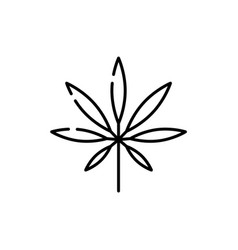 marijuana or cannabis leaf line icon - thin vector image