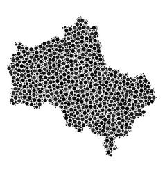 Moscow oblast map mosaic of circles vector