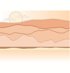 Paper desert mountain landscape with shadows vector