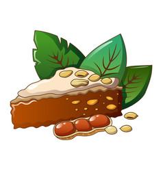 peanut cake piece icon cartoon style vector image
