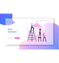 People sending mail website landing page tiny man vector