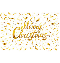 pretty merry christmas card template gold glitter vector image