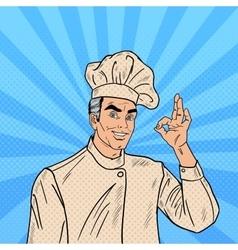 Professional Chef Cook Gesturing OK Pop Art vector image