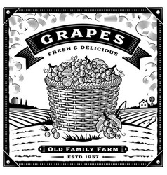 Retro grapes harvest label with landscape black vector