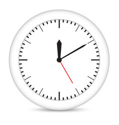 Round clock with white frame vector