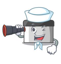 Sailor with binocular pastry scraper on wooden vector