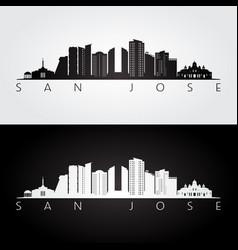 san jose costa rica skyline and landmarks vector image
