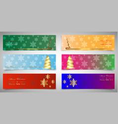 set horizontal christmas banners winter theme vector image