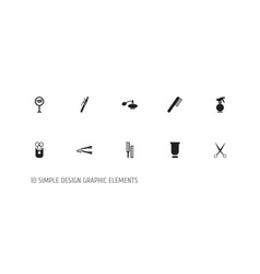 Set of 10 editable barbershop icons includes vector