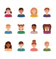 Set of children avatars collection of portreits vector