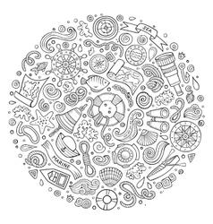 Set of Marine Nautical cartoon objects vector image